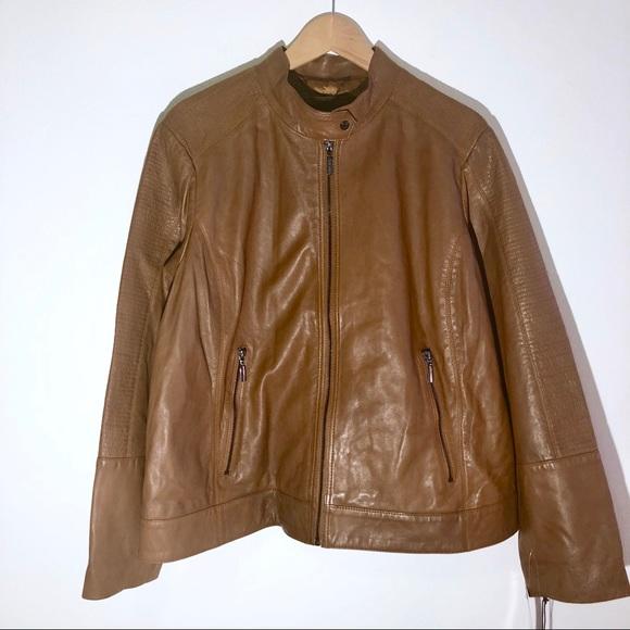 949106852b098 Bernardo Plus Size Pecan Leather Moto Jacket 2X